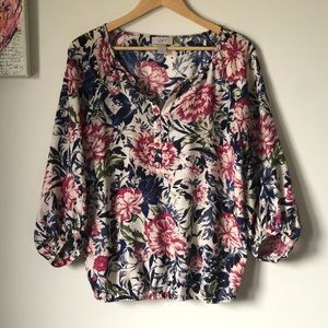 Floral puff sleeve peasant top - size XS - LOFT